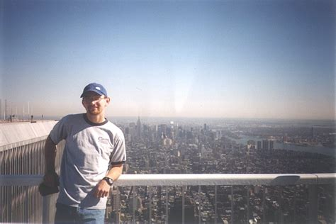 Work and Travel USA student on the top of WTC before 9/11