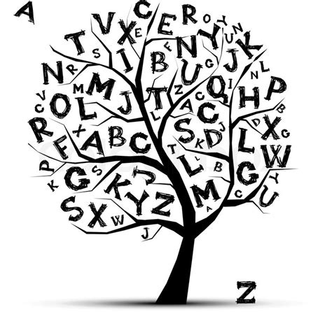 Art tree with letters of alphabetfor