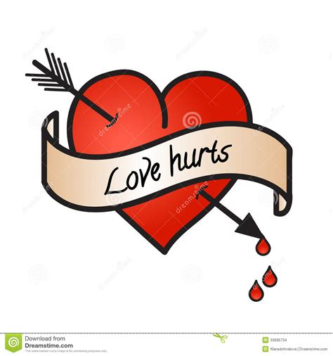Bleeding Heart With Love Hurts Text Isolated Stock Vector